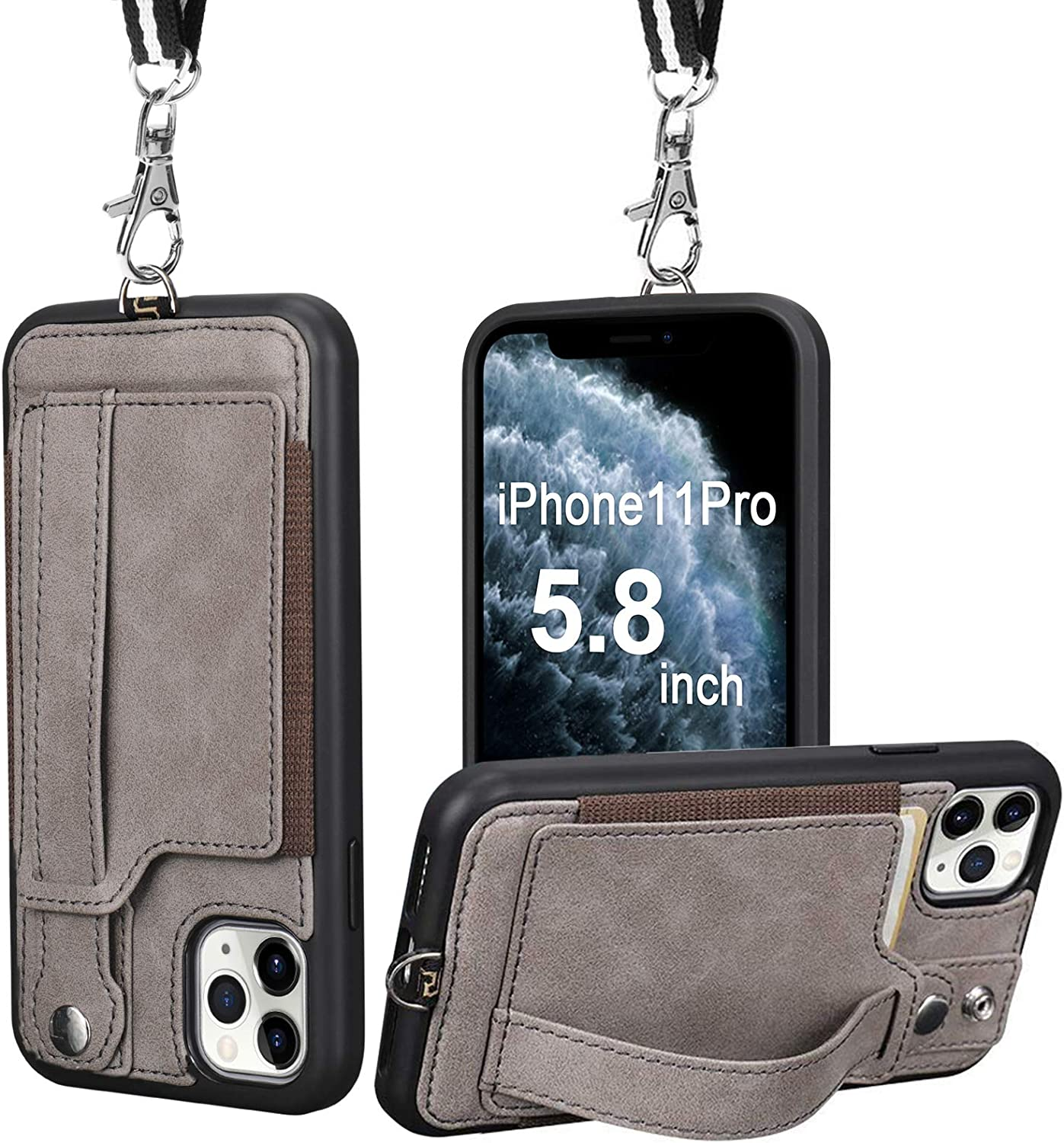 TOOVREN iPhone 11 Pro Case, iPhone 11 Pro Wallet Lanyard Neck Strap with Kickstand Leather Card Holder Adjustable Detachable Necklace, Phone Protective Back Cover for iPhone 11 Pro 5.8