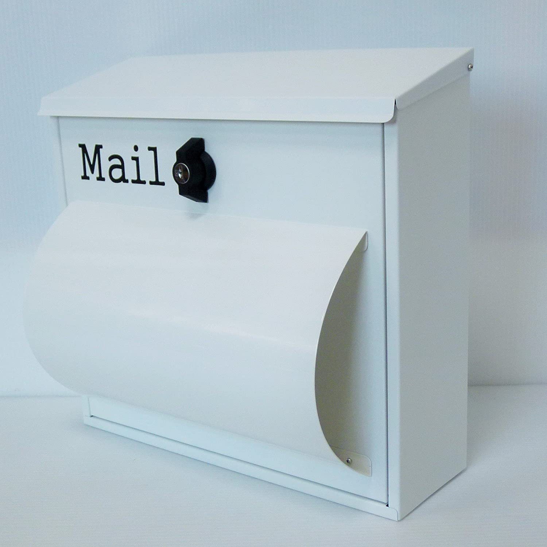 郵便ポスト郵便受け北欧風大型メールボックス 壁掛けプレミアムステンレス白色ポストpm094 B071LJB6SB 12880