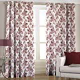 Jacquard Door Curtains - Floral, 2 Pc Set, 84 x 44 Inches, Maroon Color, Pair of Curtain Panels By Just Linen