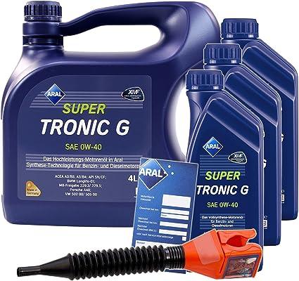 3x 1 L 4 L 7 Liter Aral Supertronic G 0w 40 Motor Öl Inkl Ölwechsel Anhänger Einfülltrichter Auto