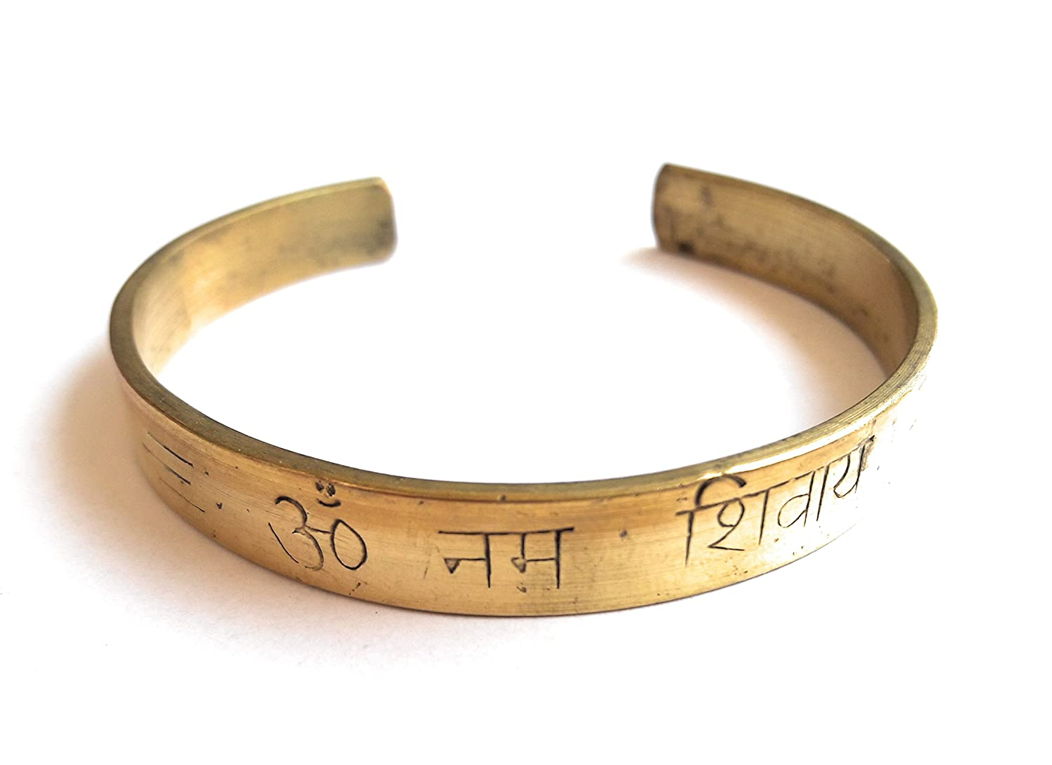 Om namah shivy engraved cuff brass bracelet for meditation fashion accessory for men women