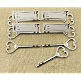 25pcs Multi Function Silver Love Heart Bottle Opener and Place Card Holder Shiny Antique Skeleton Key Heart Shaped Wedding Favor Rustic Decoration