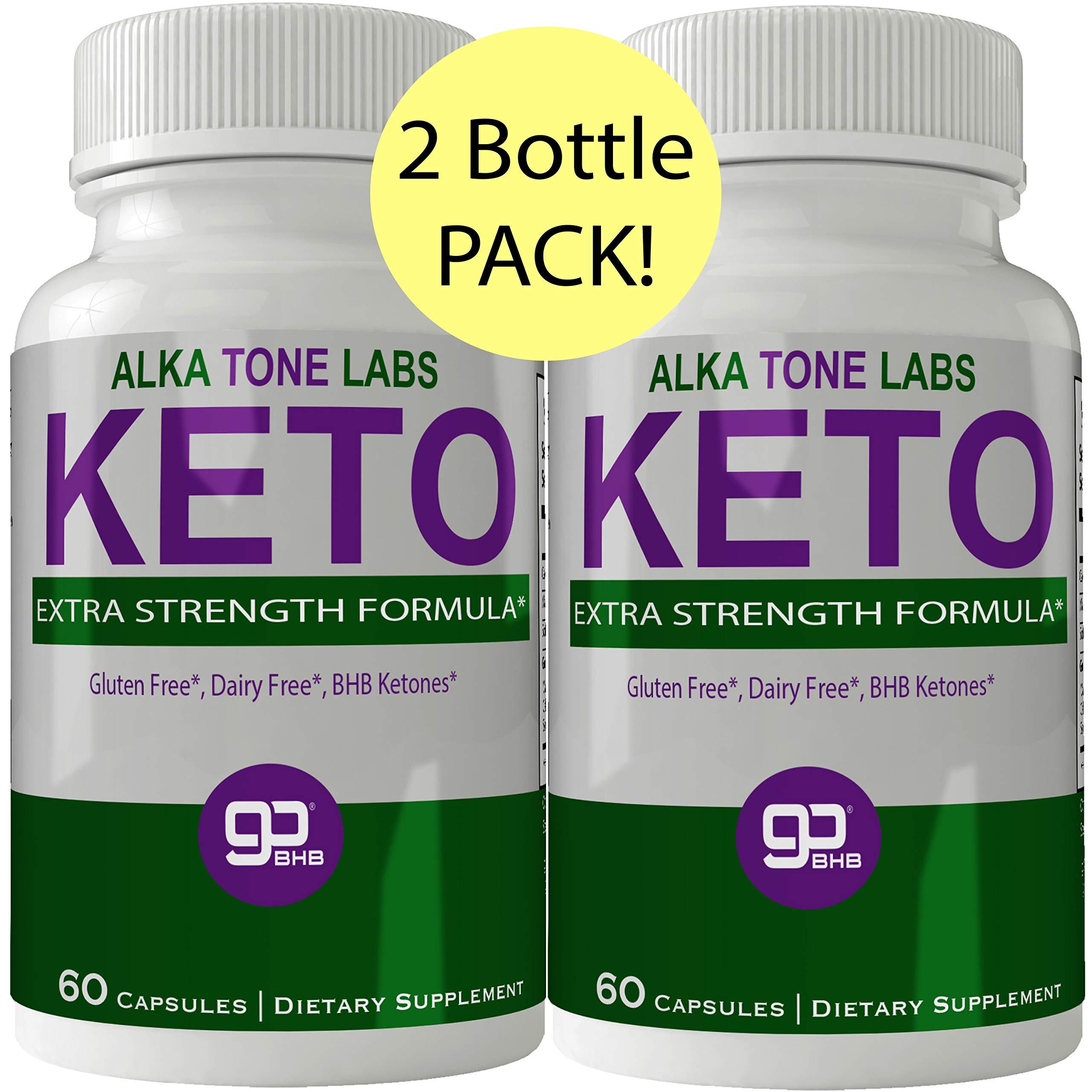 Alkatone Labs Keto BHB Weight Loss Pills 2 Bottle Pack, Advanced Natural Ketogenic Burn Fat Supplement, 800 mg Formula with New True Slim GO BHB Salts Formula, Advanced Appetite Suppressant Capsules by nutra4health LLC