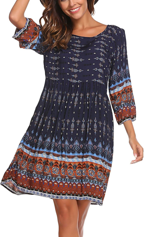 SE MIU Womens Dresses Bohemian Ethnic Print Long Sleeve Top Swing Pleated A Line Tunic Boho Dress