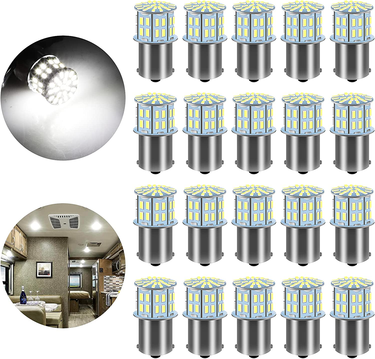 Linkstyle 20PCS 1156 1141 1073 7506 1003 BA15S RV Led Light Bulbs, Replacement Bulbs for 12 Volt RV Super Bright 3014 50SMD Indoor Lights White Lighting for Trailer Camper Boat Motorhome Car, White