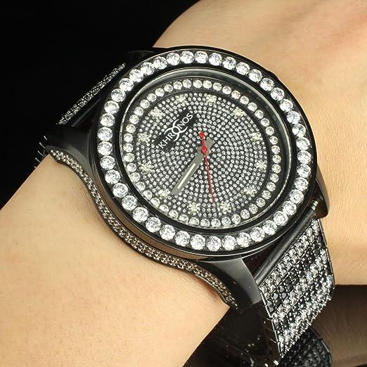 Color blanco y negro Classic Iced Out Real Diamond Kronos reloj de pulsera hombre acero inoxidable: Amazon.es: Relojes