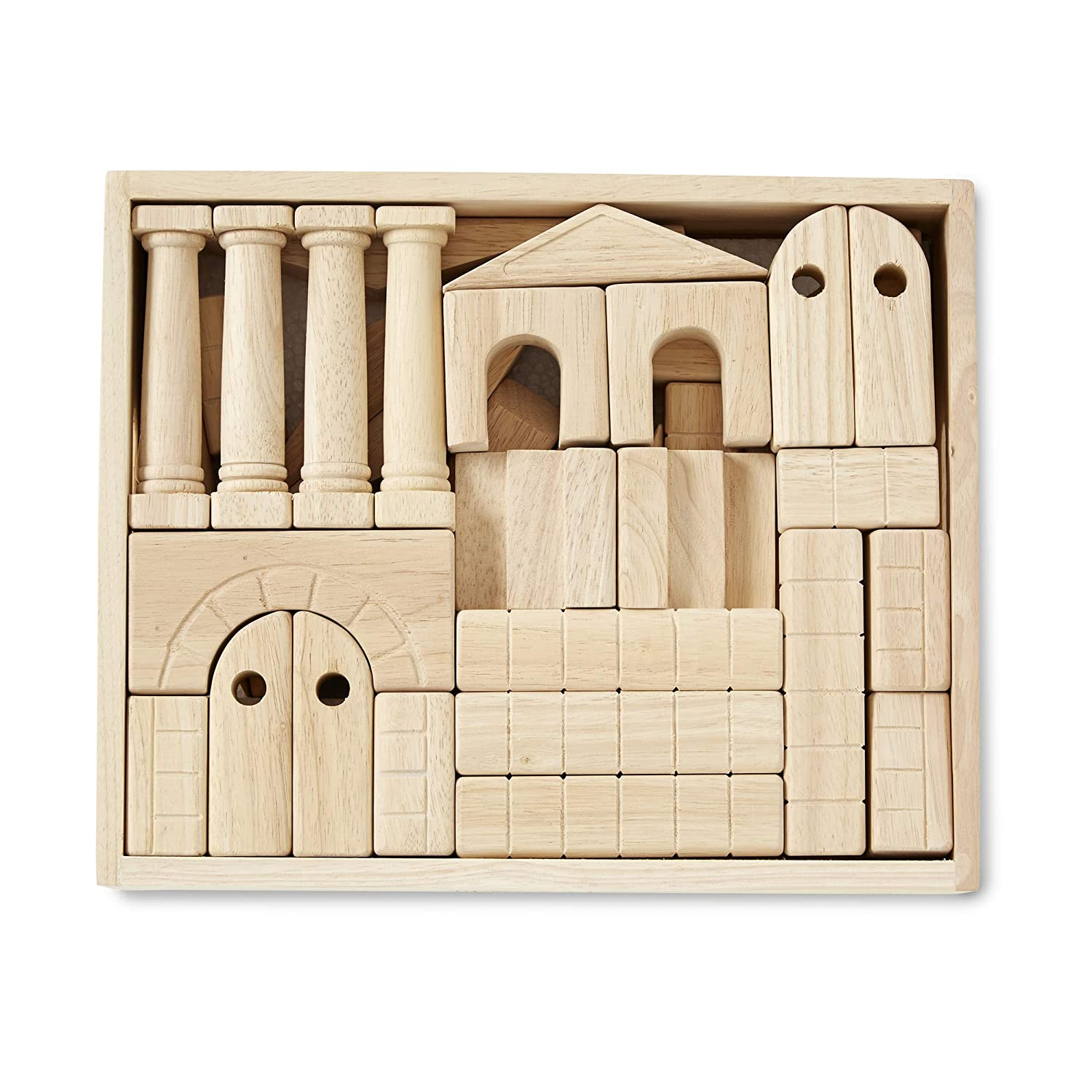 Melissa & Doug Architectural Unit Blocks (44 Building Blocks in 11 Shapes, Solid Wood, Great Gift for Girls and Boys – Best for 3, 4, 5, 6, 7 and 8 Year Olds)