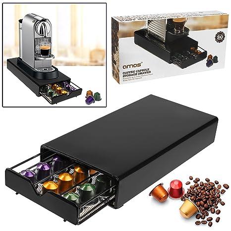 AMOS Cajón para 30 Cápsulas de Café Nespresso Dispensador Porta Organizador Estante Soporte de Máquina de