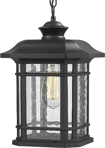 Emliviar Modern Exterior Pendant Light Lantern, 14 Outdoor Hanging Light in Black Finish with Seeded Glass, A2202110D1 Renewed