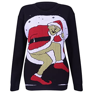 f34da89811e50 UNISEX MENS LADIES WOMENS THE GRINCH BAD FATHER CHRISTMAS SWEATER JUMPER  KNITTED PLUS SIZE ADULTS FESTIVE NOVELTY WINTER WARM JUMPERS XMAS BLACK 8  10 12 14 ...