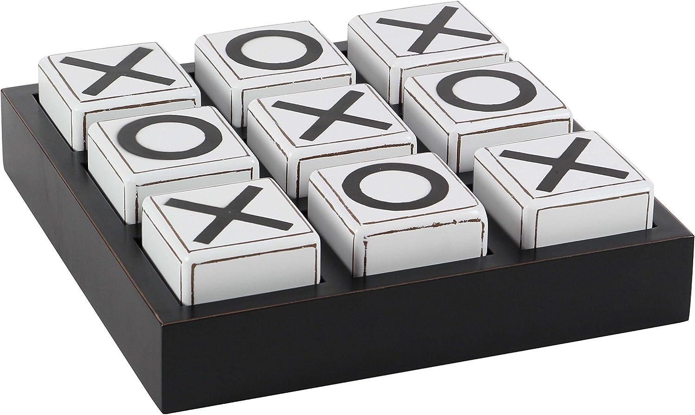 "Deco 79 56998 Wooden Tic Tac Toe Game, 4"" x 14"", Black/White"