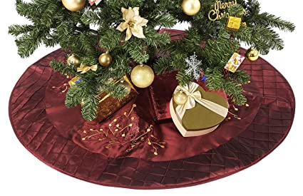 amohome christmas tree skirt 50 xmas ornament holiday and new year party decoration holly