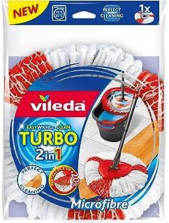 Vileda Turbo 2in1 - Recambio de Microfibras y poliamida, color rojo y blanco