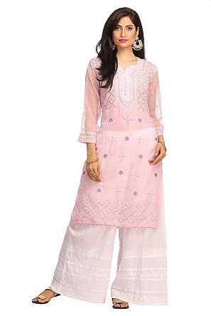 776869892 ADA Women Faux Georgette Needlecraft Lakhnavi Chikan Kurti (M121488 ...