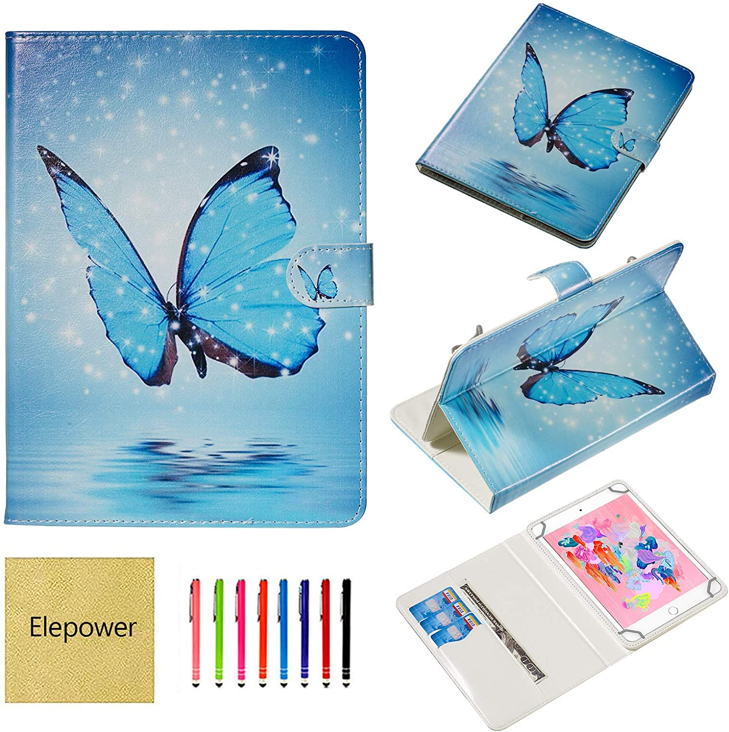 10 inch Tablet Universal Case, Elepower PU Leather Folio Stand Pattern Protective Cover for All 9.5-10.5 inch, iPad/Galaxy Tab/Fire HD/Huawei/Lenovo 9.6'' 9.7'' 10.1'' 10.2'' 10.5'', Butterfly