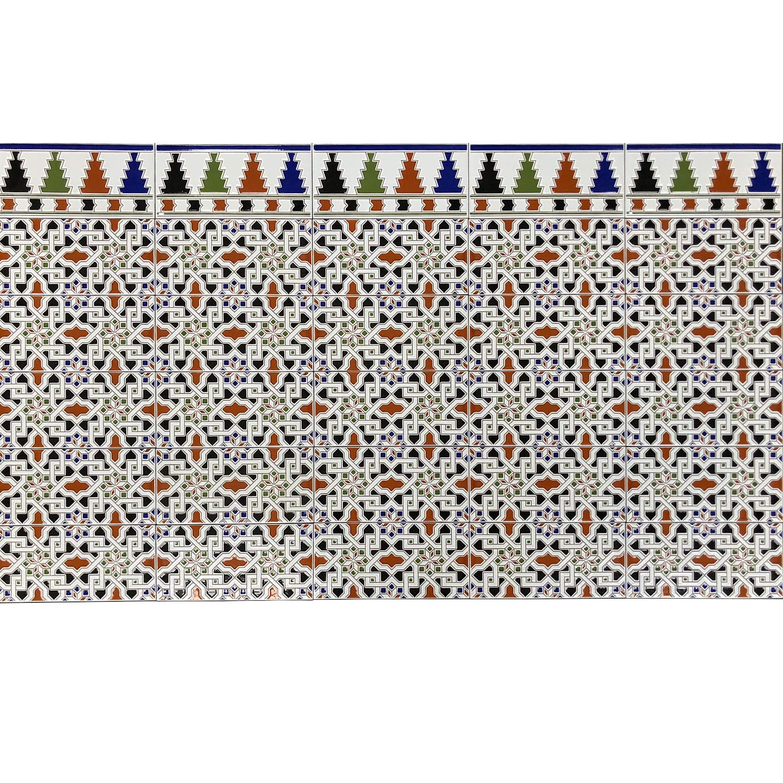Orientalische Wandfliesen marokkanische Keramikfliesen Ceuta 28 x 14 cm 0,98 m/² Mosaik Muster Sch/öne Wanddekoration im Bad /& K/üchenr/ückwand Maurische Ornamentfliesen Relieffliesen