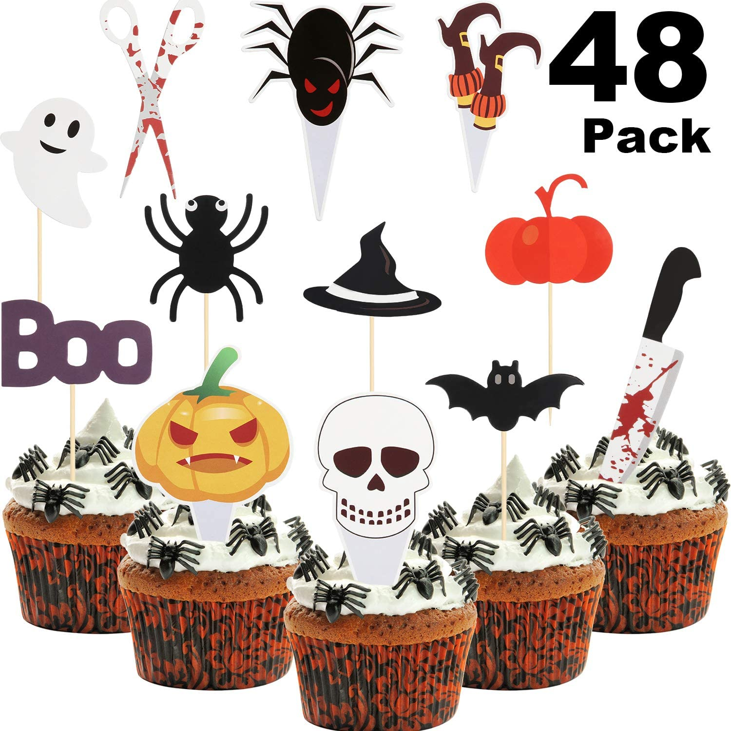 48 Pieces Halloween Cupcake Toppers Spider Pumpkin Ghost Food Picks Halloween Cupcake Picks for Halloween Party Favors Baby Shower Birthday Decoration