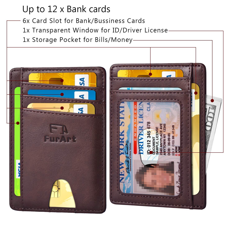 FurArt Slim Minimalist Wallet Credit Card Holder with Disassembly D-Shackle RFID Blocking Front Pocket Wallets