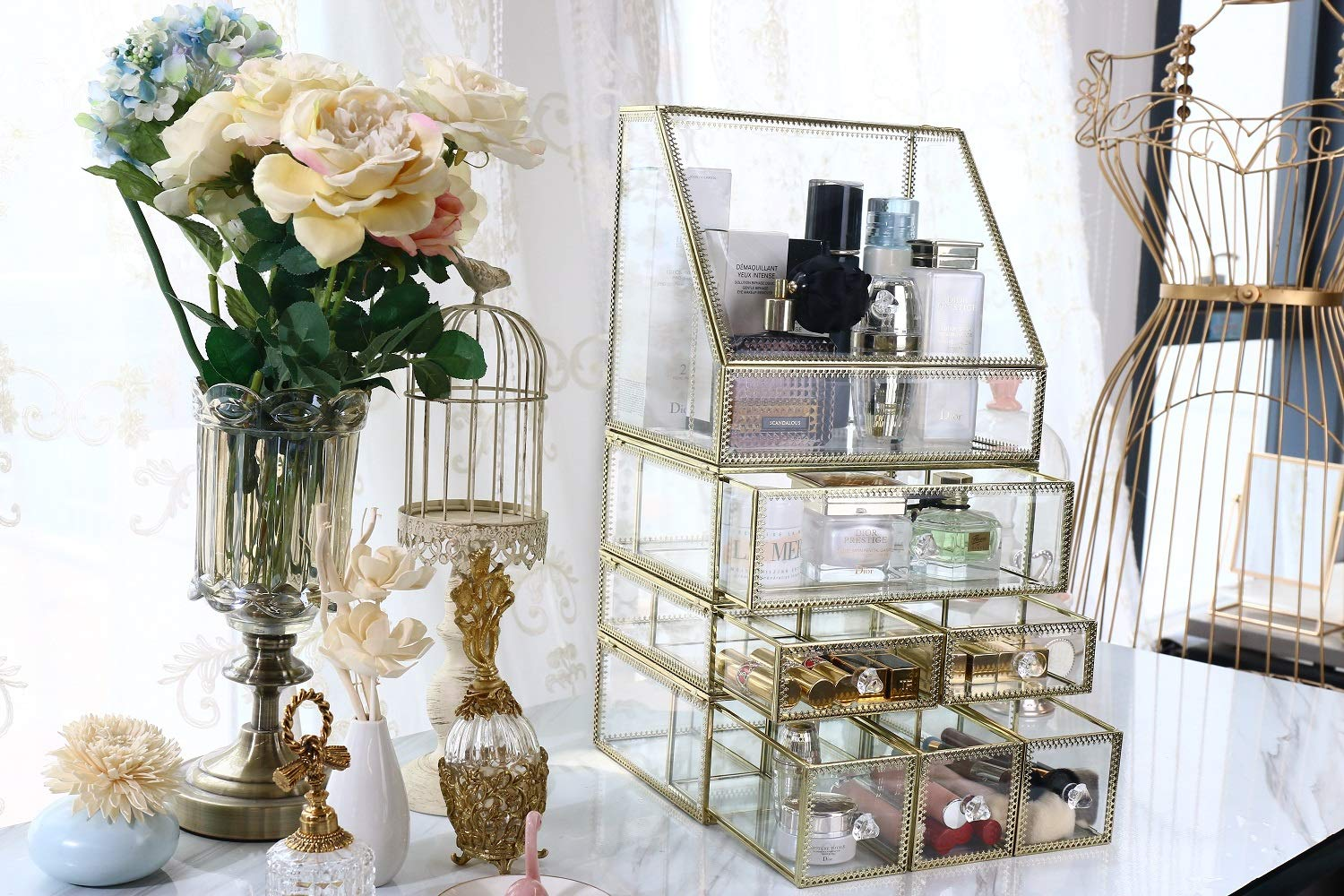 minopigo Antique Spacious Mirror Glass Drawers Set/Brass Metal Cosmetic Makeup Storage/Stunning Jewelry Cube Organizer. It Consists of 4Separate Organizers with Lid-Display Dustproof (1DRAWER) DesignD