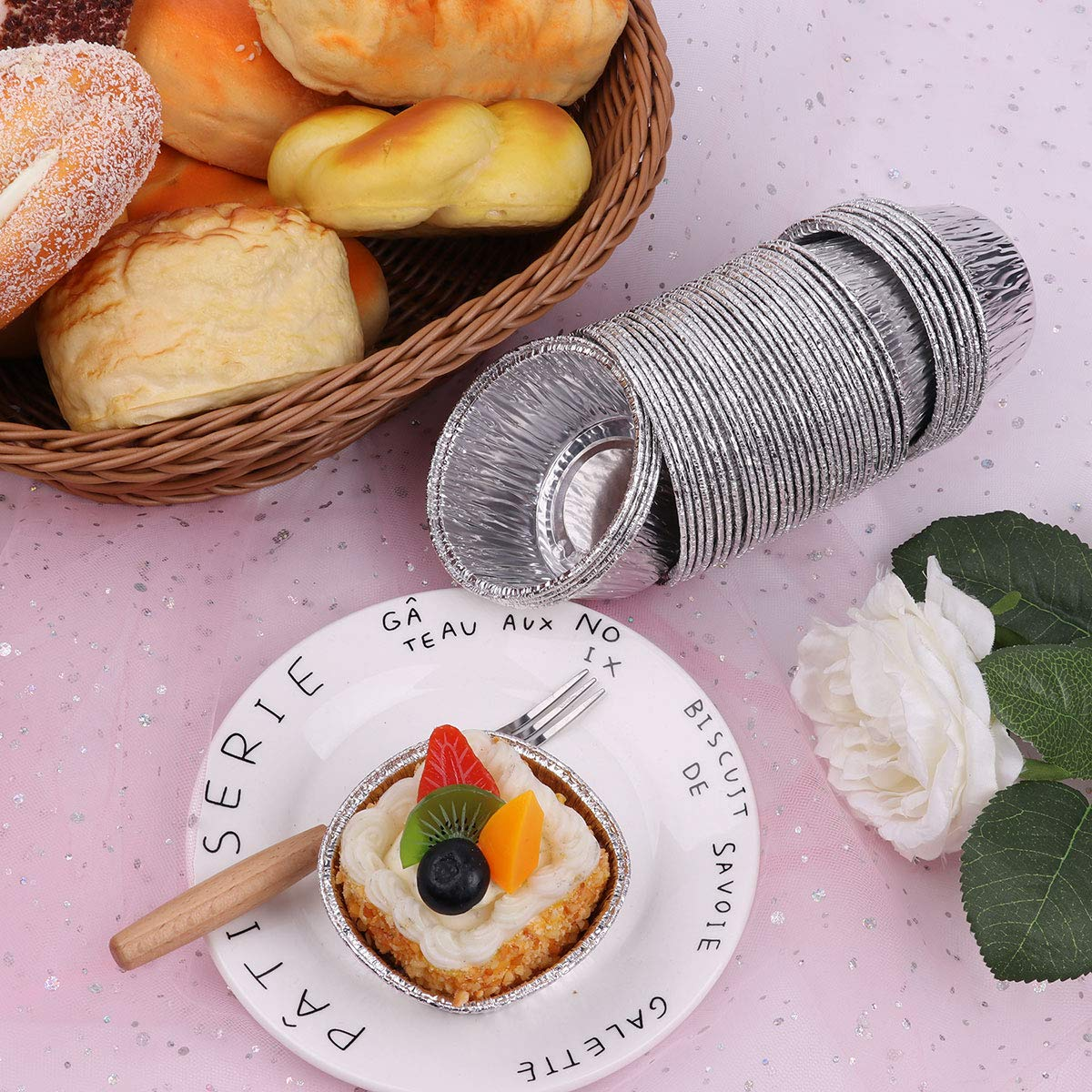 CHICTRY 150Pcs Aluminum Foil Mini Muffin Ramekin Cups Non-Stick Disposable Round Cupcake Pudding Cups Baking Tin Pans for Cake Dessert Quiche Tarts Silver One Size