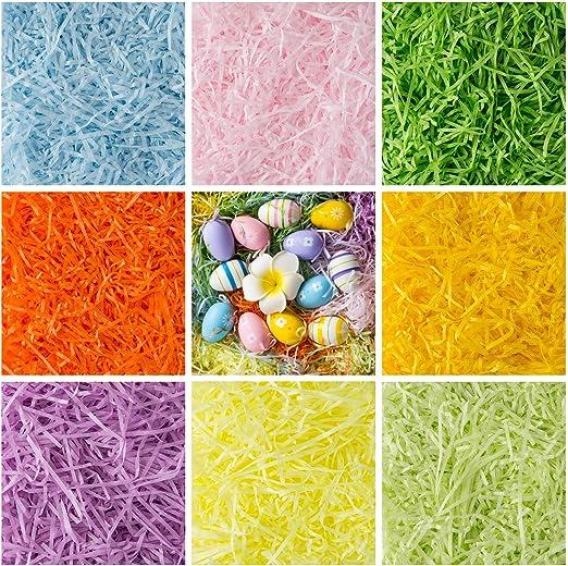 Naler 450 Gramos Papel de Seda en Tiras Relleno de Cesto de Pascua 8 Colores para Rellenar Caja de Regalo Decoración de Pascua: Amazon.es: Hogar