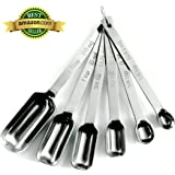 Limited Time SALE - Heavy Duty Accurate Narrow Stainless Steel Measuring Spoons, 6 piece set, Chef Quality and Commercial Durability