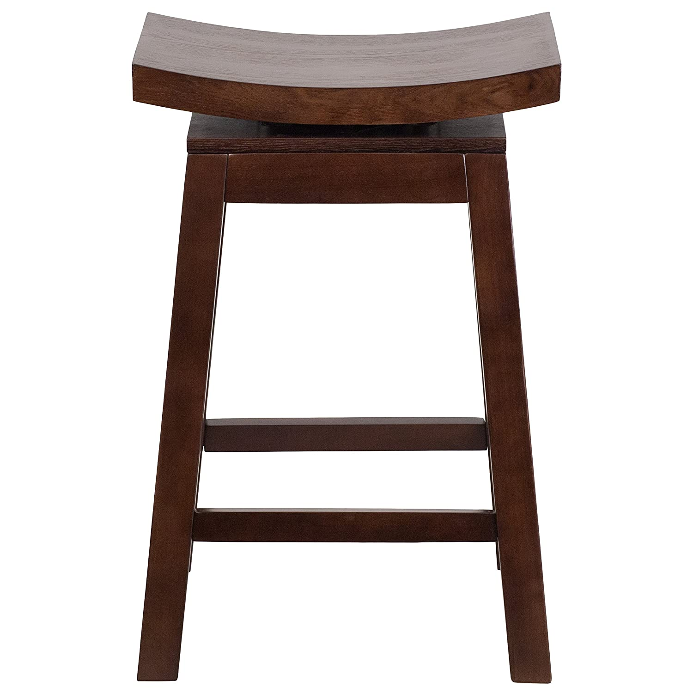 Flash Furniture 26 High Saddle Seat Cappuccino Wood Counter Height Stool with Auto Swivel Seat Return TA-SADDLE-2-GG