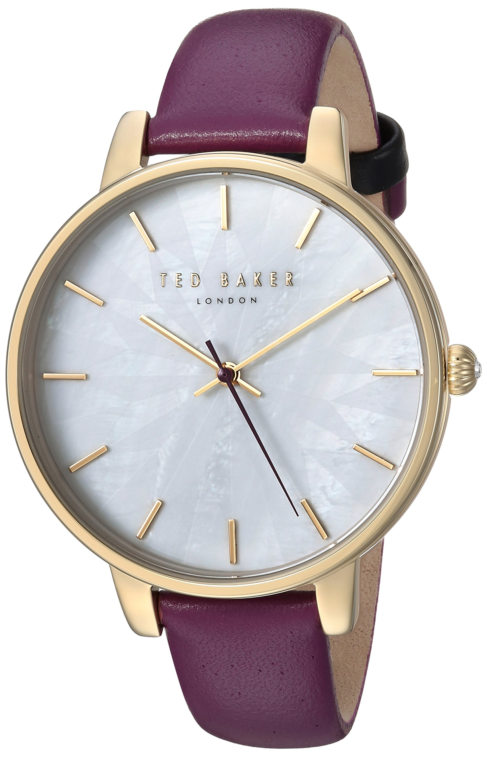 Ted Baker Women's Quartz Stainless Steel and Leather Casual Watch, Color:Purple (Model: TE15200002)