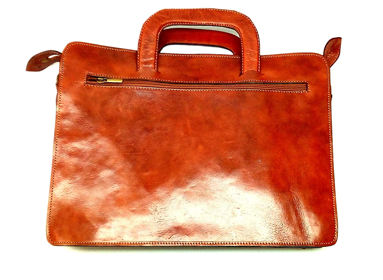 Genuine Leather Briefcase Handmade Moroccan Craftsmanship Lifetime Leather Tan 1 pc