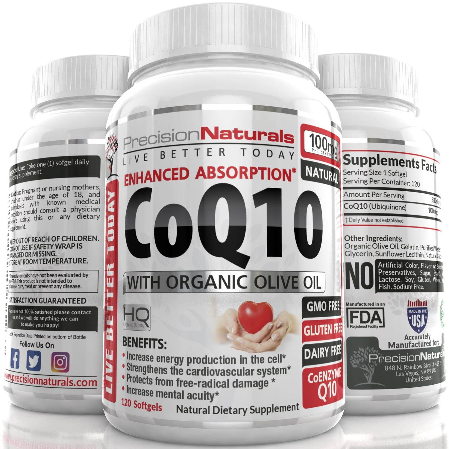 Coenzyme Q10 CoQ10 100mg Softgels/Capsules High Absorption Ubiquinone Supplement 120 Count The Best Vitamin for Your Heart Health/Fertility With Organic Olive Oil