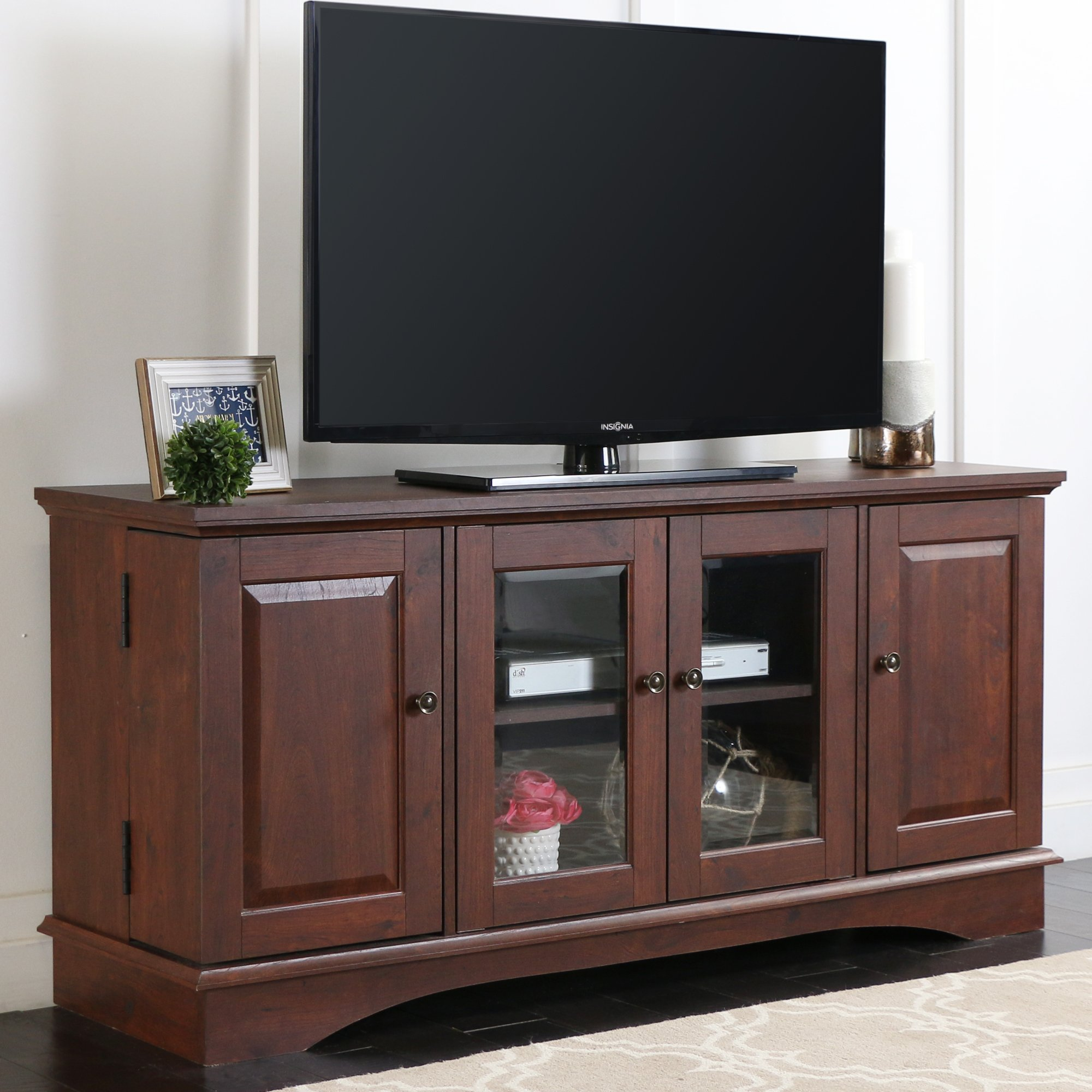 52'' Media Storage Wood TV Stand/Console in Medium Traditional Brown Finish