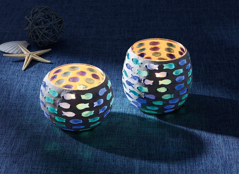 verre peint en blanc compl/ète le look marin sans bougies cailloux bleu en forme de poissons S/érie 2 lumignons