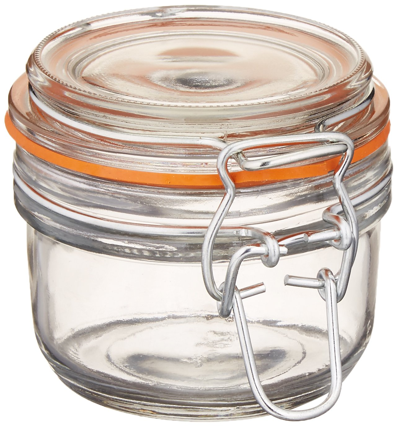 Set of 12 Anchor Hocking 5.4-Ounce Mini Glass Jar with Hermes Clamp Top Lid Clear 98908