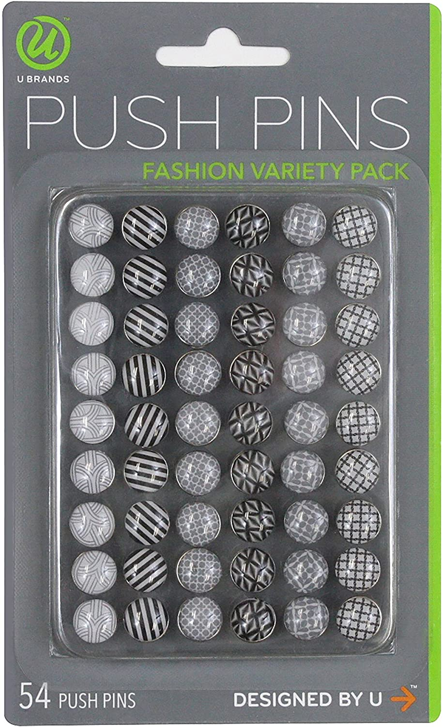 U Brands Fashion Steel Push Pins, Black White & Gray Assorted Colors, 54 Count - 575U06-24