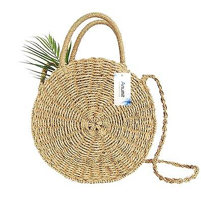 d545e9e604b8 Straw Bag, Anumit Circle Straw Crossbody Bag Women Handwoven Round Rattan  Bag Shoulder Bag Summer Beach Purse and Handbags