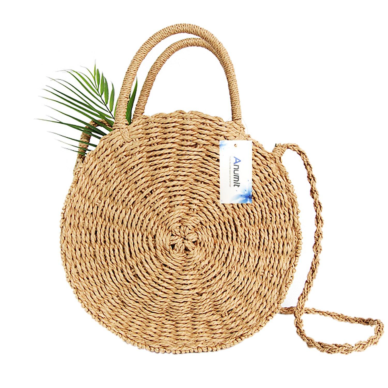 Straw Bag, Anumit Circle Straw Crossbody Bag Women Handwoven Round Rattan Bag Shoulder Bag Summer Beach Purse and Handbags
