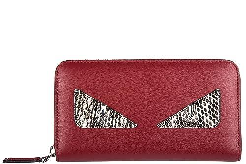 Fendi monedero cartera bifold de mujer en piel nuevo zip around intarsiato rojo: Amazon.es: Zapatos y complementos