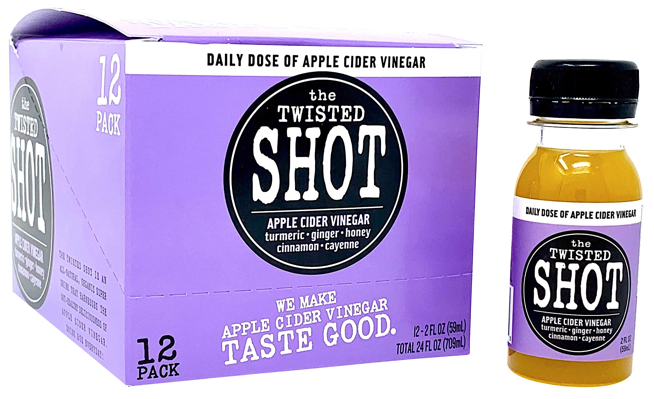 The Twisted Shot - Organic Apple Cider Vinegar Shots with Turmeric, Ginger, Cinnamon, Honey & Cayenne - 12-Pack of 2oz Shots