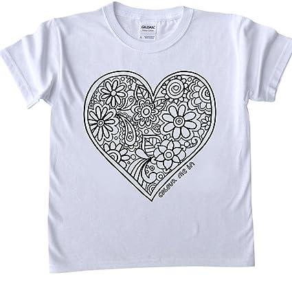 T Shirt Per Bambini Da Colorare Disegno Del Cuore