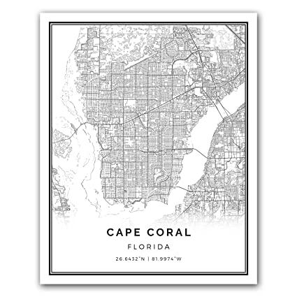 Amazon Com Cape Coral Map Poster Print Modern Black And White
