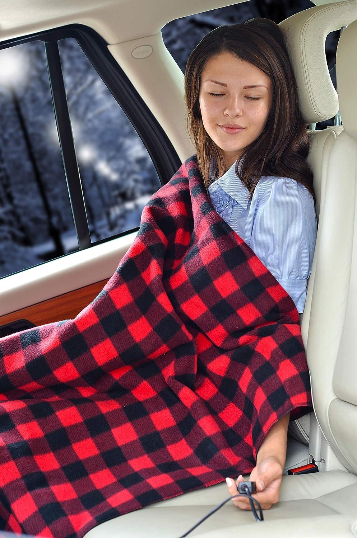Sojoy - Manta eléctrica climatizada de 12 V de viaje para coche, camión, barcos o RV con control de temperatura alta/baja, cuadros negro y burdeos (152 x ...