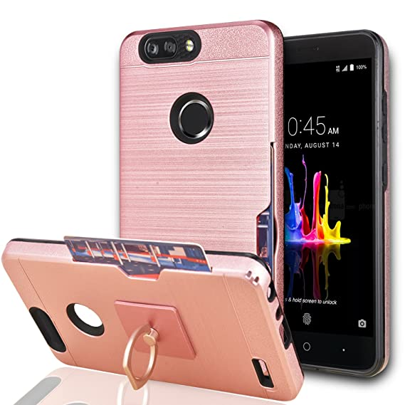YmhxcY for ZTE Blade Z Max/ZTE Blade Zmax Pro 2/ ZTE Sequoia Case with  Phone Stand,[Credit Card Slots Holder][Brushed Texture] Hybrid Dual Layer