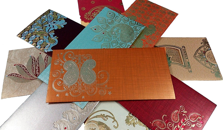 PARTH IMPEX Premium Shagun Gift Envelope (Pack of 10) Assorted Color Designs Money Holder Card Fancy Packet for Christmas Diwali Easter Birthday Wedding Anniversary Designer Invitation Envelopes Pimpex-0011