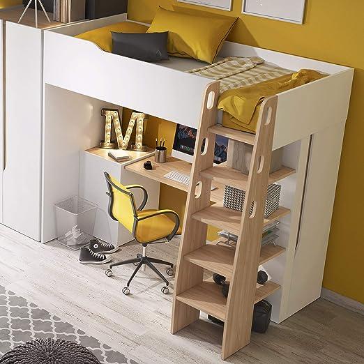 MHF Bubu 1 litera escritorio escalera almacenamiento 90x200cm colchón habitación niños moderno: Amazon.es: Hogar