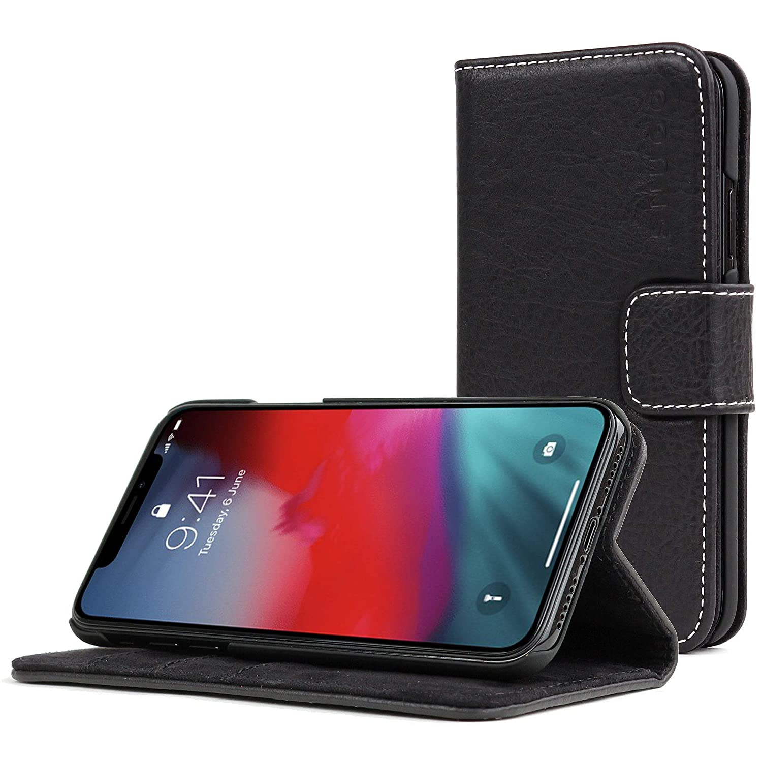 81082e9f2cc Snugg iPhone Xs Max Case, Snugg Blackest-Black Leather Flip Case [Card  Slots] Executive Apple iPhone Xs Plus Wallet Case Cover and Stand Legacy  Series ...
