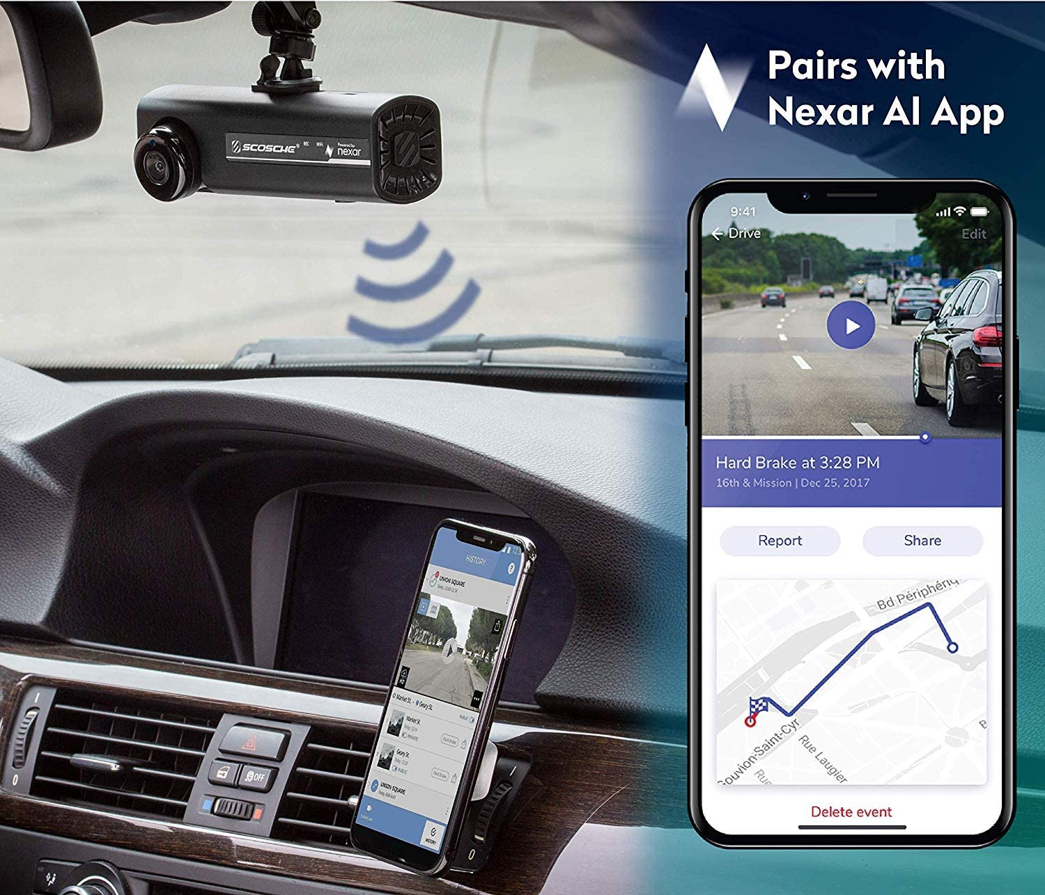 SCOSCHE NEXC11016-SP1 Full HD Smart Dash Cam Powered by Nexar with Suction Cup Mount and 16GB Micro-SD Card