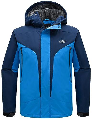 Wantdo Men's Hooded Waterproof Rain Jacket Fleece Windproof Ski Jacket Dark Blue Acid Blue US X-Large