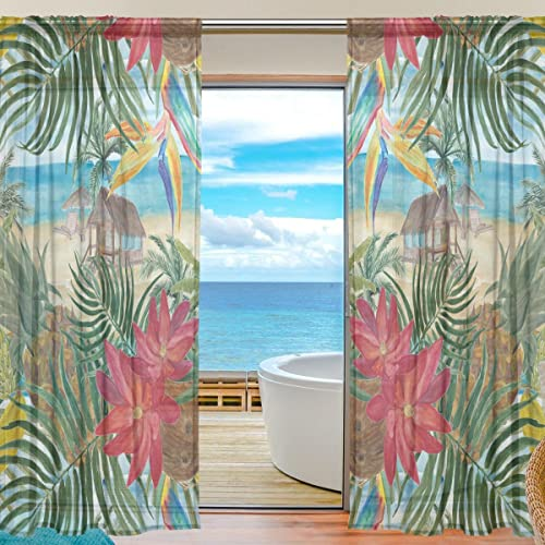 ALAZA Sheer Curtain Tropical Beach Flower Pineapple Voile Tulle Window Curtain