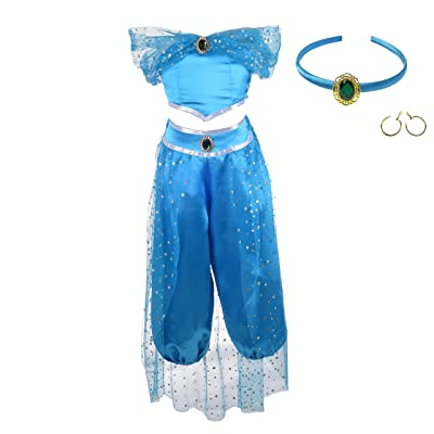 Lito Angels Girls Princess Costumes Arabian Princess Dress Up Halloween Christmas Outfit with Headband and Earwings: Clothing