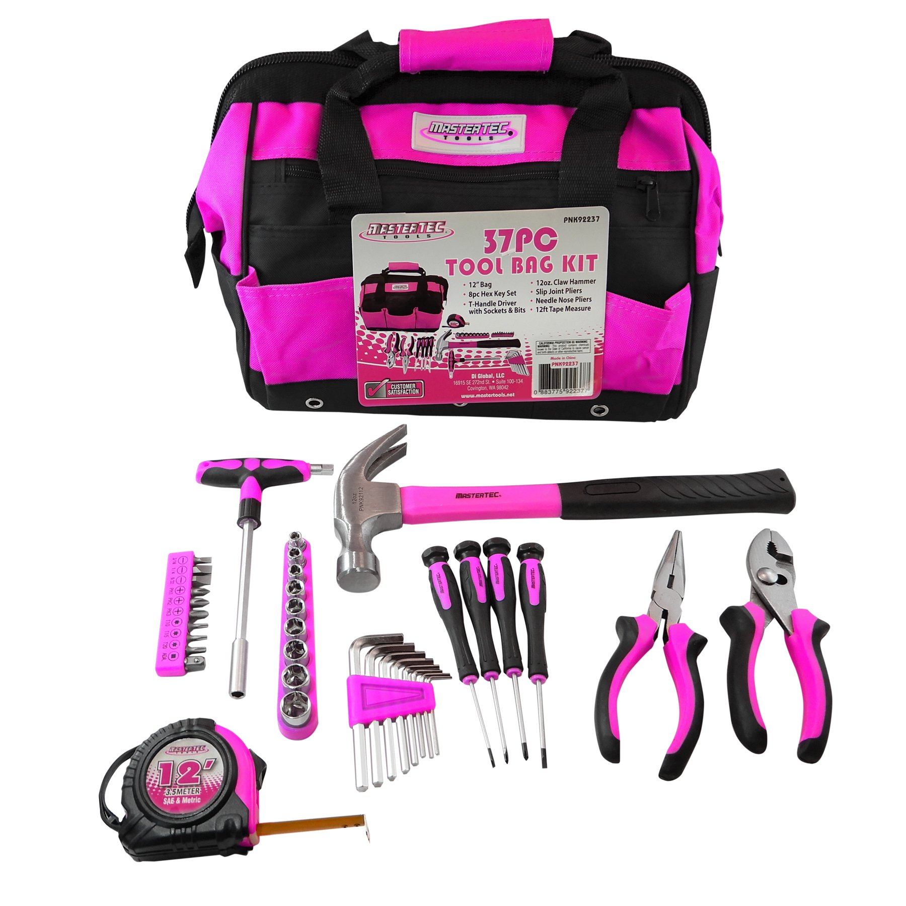 MASTERTEC Pink 37pc Tool Kit w/Storage Bag